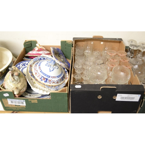 334 - A Victorian pottery wash jug and bowl, others similar, other glass and ceramics (qty)...