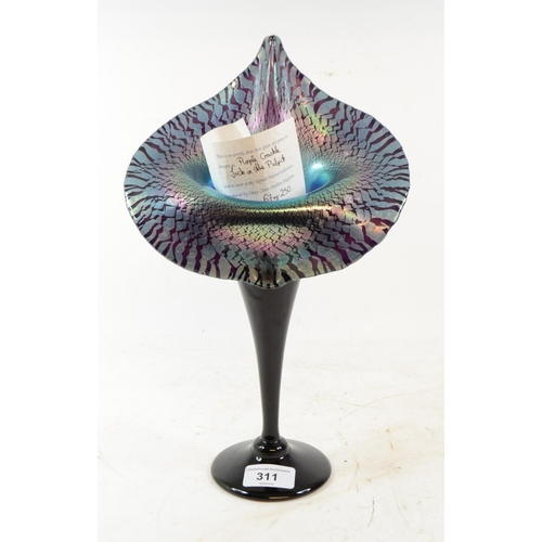 311 - An Okra Glass limited edition Jack in the Pulpit vase, Purple Crackle, 67/220, with certificate, 32 ...
