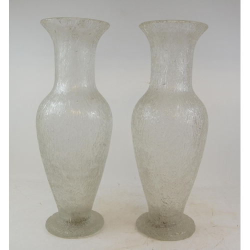 313 - A pair of glass vases, with an ice effect, 40.5 cm high (2)...