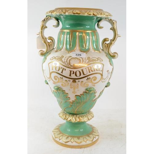 326 - A late Victorian Pot Pourri vase, with gilt decoration, lacks cover, handles repaired 42 cm high...