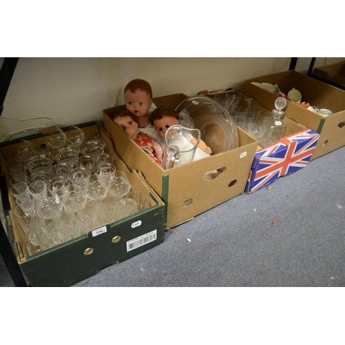 338 - Assorted ceramics, glass, three dolls and other items (4 boxes)...