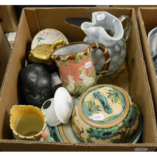 347 - A vaseline style glass ewer, 24 cm high, other ceramics, glass and items (2 boxes)...