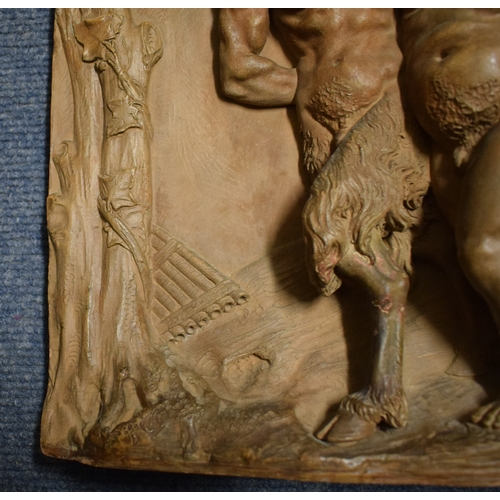 331 - Lacour, a terracotta panel decorated in high relief two fauns escorting a Bacchus, slight damage, 40...