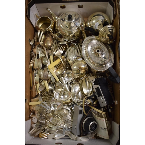 13 - A silver plated four piece tea service, a canteen of cutlery, other silver plate, an Olympus 35ED ca...