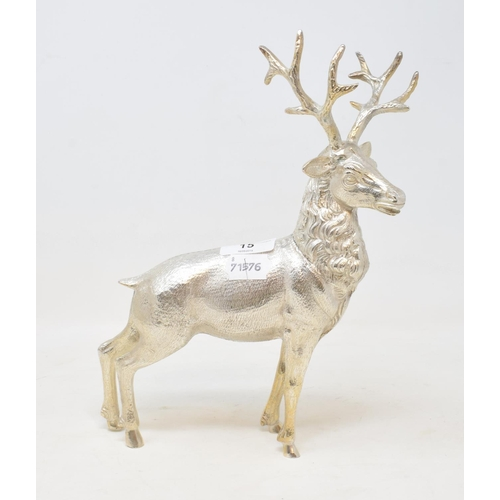 15 - A silver plated model of a stag, 22 cm wide...