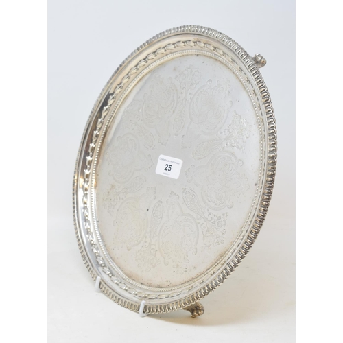 25 - A Victorian silver salver, with engraved decoration and a bell flower border, London 1849, approx. 2...
