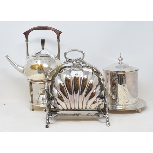 29 - A Victorian plated foldout biscuiteer, 24 cm high, a late Victorian plated biscuit box, and a plated...