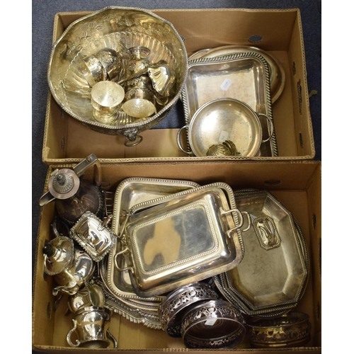 39 - Assorted silver plate, including entree dishes and covers, and a punch set (2 boxes)...