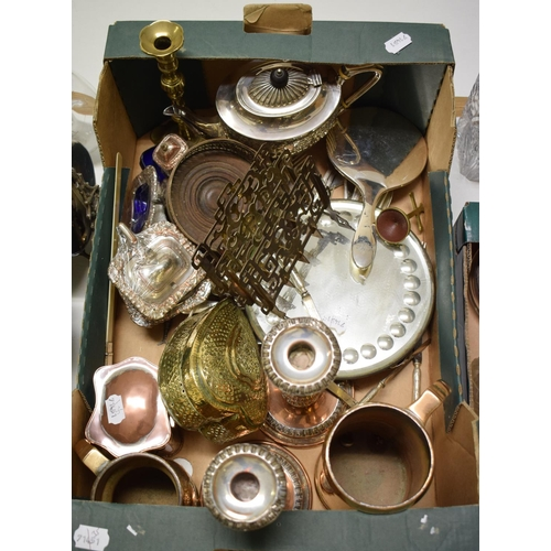 4 - A pair of plate on copper candlesticks, assorted silver plate and other items (box)...