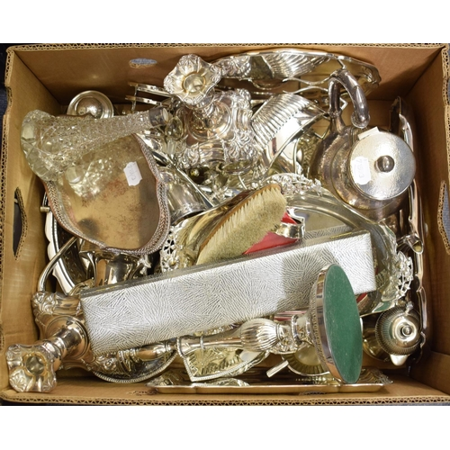 40 - Assorted silver plated items, including candlesticks, teawares, dishes and cutlery (box)...