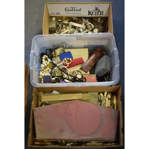 43 - Assorted silver plate, costume jewellery and items (3 boxes)...
