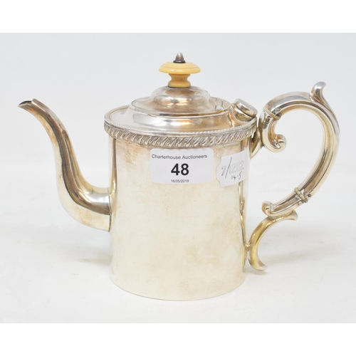 48 - A late 19th century silver plated Argyle, with a turned ivory finial, 14 cm high...