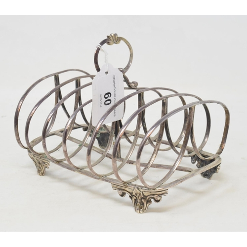 60 - A Victorian silver six division toast rack, initialled, London 1850, approx. 7.7 ozt, 11 cm high...