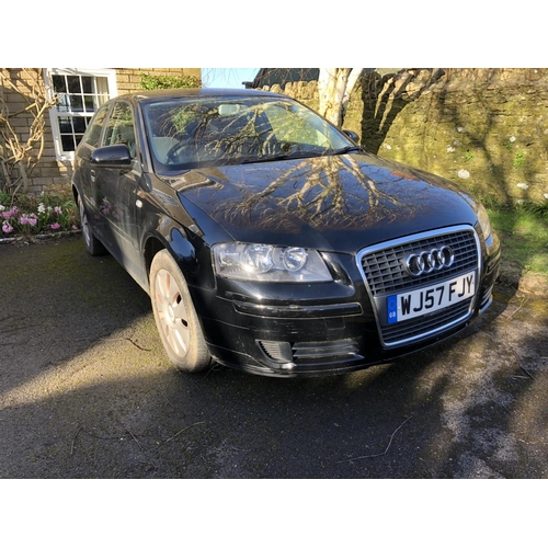700 - A 2008 Audi A3 Special Edition three door hatchback, registration number WJ57 FJY, black. Having cov...