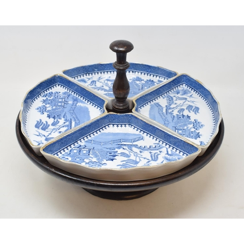 704 - A Mintons for Waring & Gillow hors d'oeuvres four piece set, in a lazy Susan, 34 cm diameter...