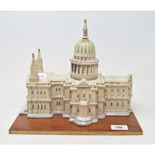 706 - A Goldschieder box model, of St Paul's Cathedral, spire glued, tip missing, 24 cm high, on a wooden ...