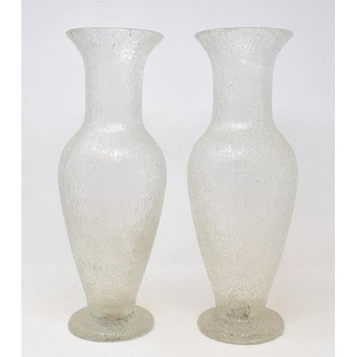 711 - A pair of glass vases, with an ice effect, 40.5 cm high (2)...