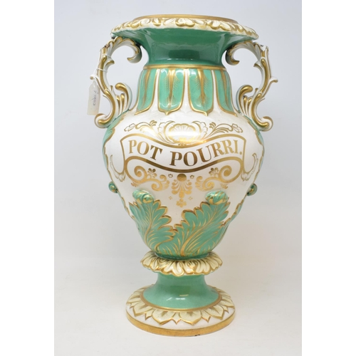 712 - A late Victorian Pot Pourri vase, with gilt decoration, lacks cover, handles repaired, 42 cm high...