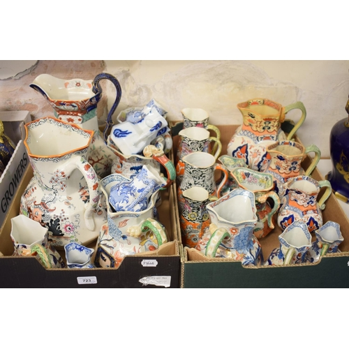 723 - Assorted Mason's Ironstone jugs, various sizes, patterns and shapes (2 boxes)...