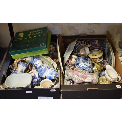739 - Two Mason's Ironstone pestel and mortars, and other assorted Mason's Ironstone (2 boxes)...