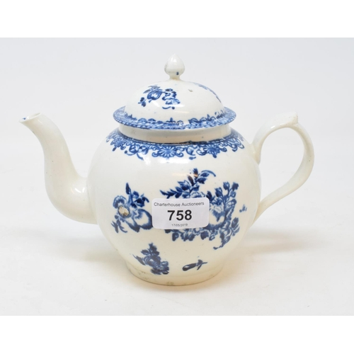 758 - A late 18th century Penningtons Liverpool porcelain teapot and cover, transfer printed with the Frui...