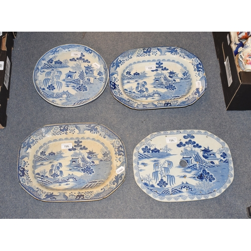729 - A Mason's Ironstone Kings College Cambridge pattern blue and white meat plate, printed James Lawranc...