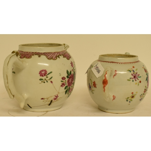 753 - A Chinese famille rose box and cover, with floral decoration, two famille rose teapots and covers, a...
