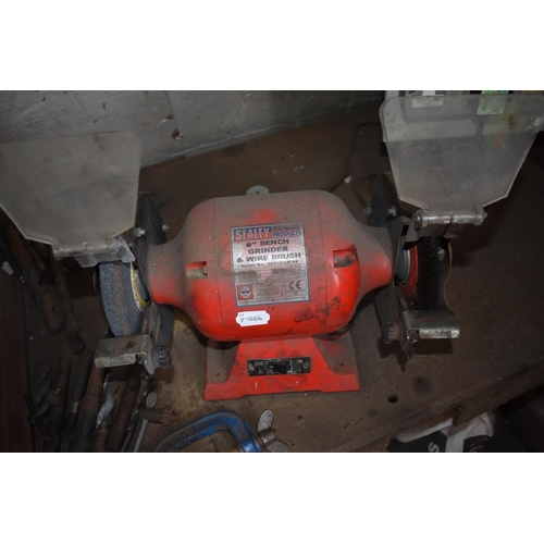 22 - A Sealey pillar drill model GDW150A/12B, a Sealey 6 inch grinder & wire brush and a work bench (3)...