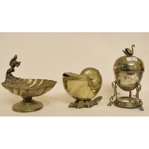 5 - A Victorian plated spoon warmer, in the form of a shell, an egg coddler, a biscuiteer, a pedestal nu...