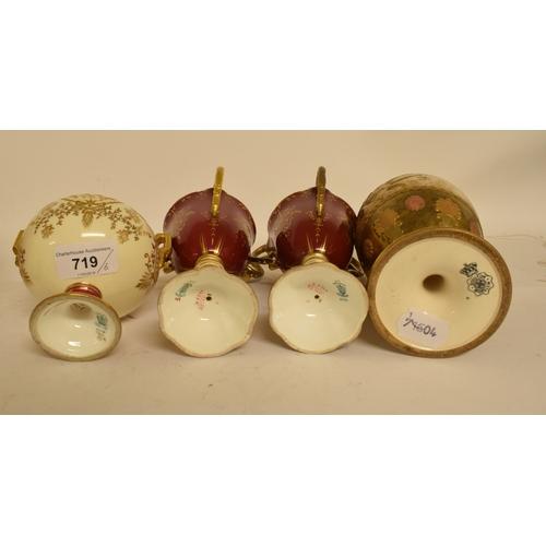 719 - A Coalport porcelain tyg, with gilt decoration, four matching items, and a Dolton Burslem vase, some...