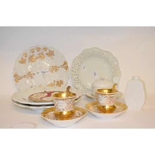 715 - A pair of Berlin porcelain cabinet cups and saucers, with gilt floral decoration, other Berlin and M...
