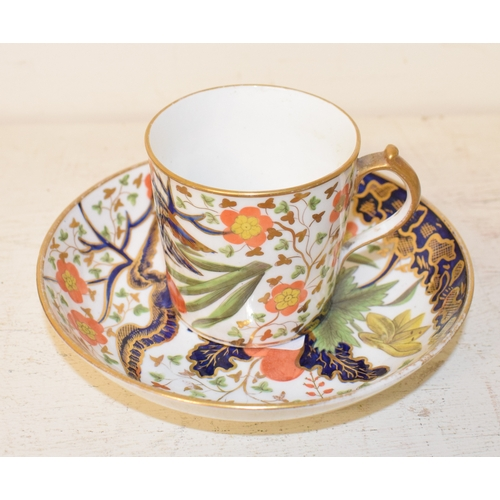736 - A Miles Mason cup and saucer, decorated birds, flowers and foliage, and other items (box)...