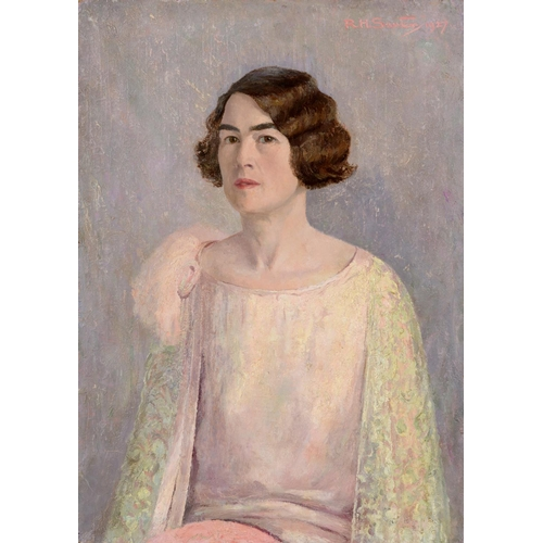 16 - Rudolf Helmut Sauter (1895-1977), portrait of Mrs R H Sauter, oil on canvas, signed and dated 1927, ...