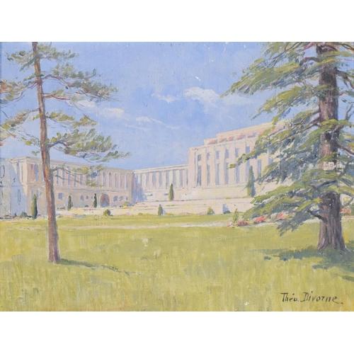 38 - Theodore Divorne (1874-1965), Palais de la SDN Geneve, oil on canvas, signed, inscribed verso, 26 x ...