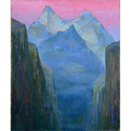 4 - Rudolf Helmut Sauter (1895-1977), an alpine view with pink skies, oil on canvas board, signed and da...