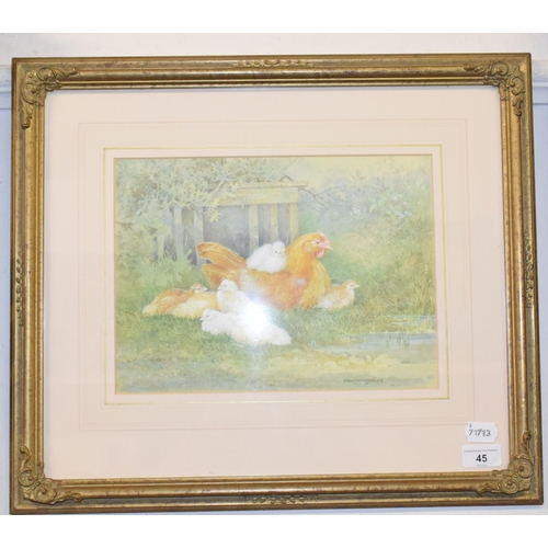 45 - George Beningfield, a Buff Orphington Hen with her chicks, watercolour, signed, 23 x 31 cm...