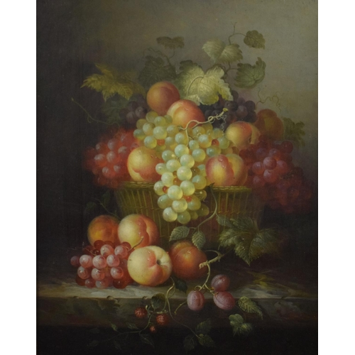 46 - Still life of grapes and peaches in a basket, oil on panel, 48 x 38.5 cm, and its pair (2)...