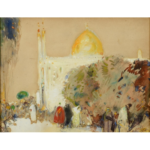 57 - Dudley Hardy (1865-1922), Outside the Mosque, watercolour and bodycolour, signed, 22 x 28.5 cm See i...