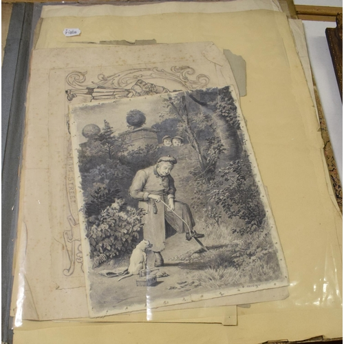 58 - George Hodgson (1847-1921), a folio of drawings, sketches and illustrations (14)...