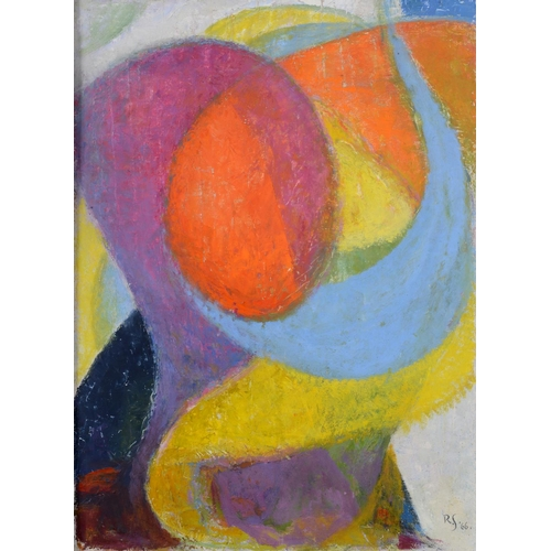 6 - Rudolf Helmut Sauter (1895-1977), abstract forms, oil on board, initialled and dated 66, 74.5 x 55 c...