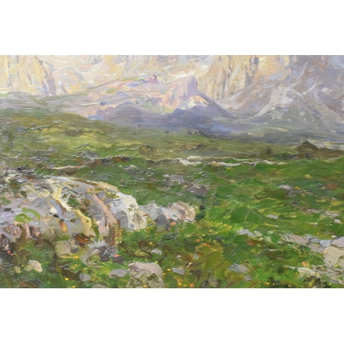 43 - Emo Mazzetti (1870-1955), an alpine mountain scene, oil on panel, signed and dated 1901, 33.5 x 48.5...