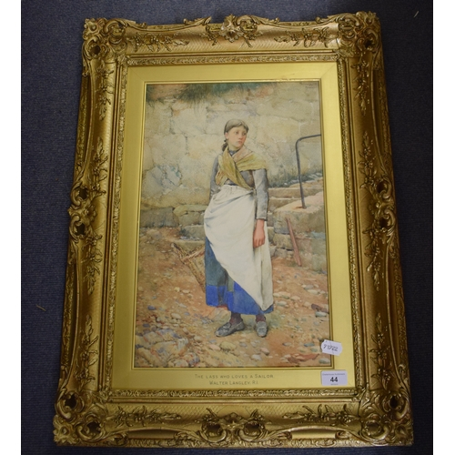 44 - Walter Langley (1852-1922), The Lass Who Loves a Sailor, watercolour, signed, dated 1892 and inscrib...