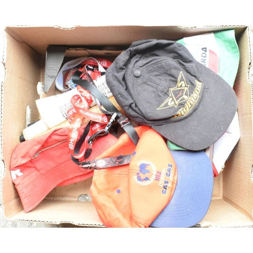 6 - Assorted motorcycle textiles, t-shirts, lanyards, baseball caps, and other items (2 boxes)...