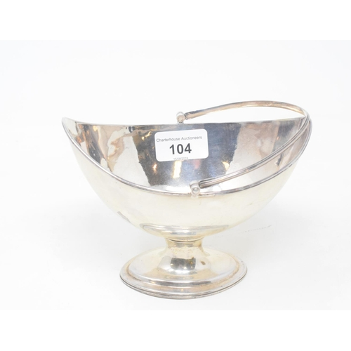 104 - A George III silver swing handle bowl, of navette form, on a pedestal base, London 1787, approx. 6.5...