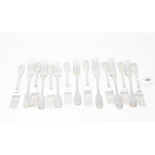 108 - Fifteen 19th century silver fiddle pattern dessert forks, initialled, various dates and makers, appr...