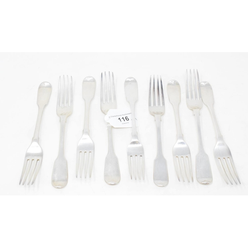 116 - Nine silver fiddle pattern dessert forks, mostly crested, various dates and makers, approx. 13.7 ozt...