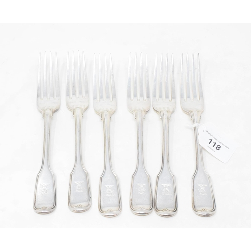 118 - A set of six early 19th century silver fiddle and thread pattern table forks, crested, London 1832, ...