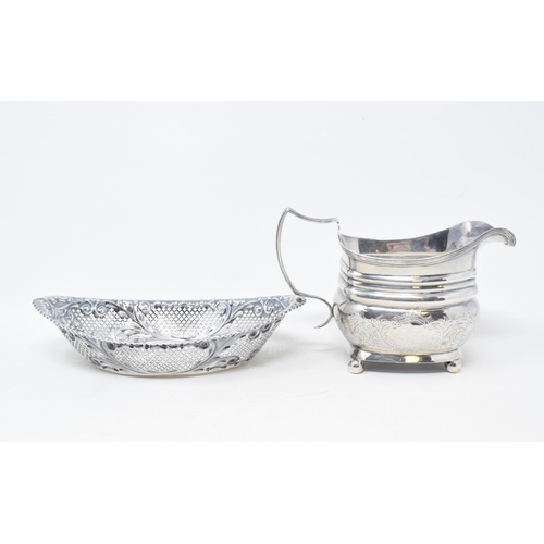 122 - A George III silver cream jug, London 1811, and a silver bon bon dish, approx. 9.5 ozt (2)...