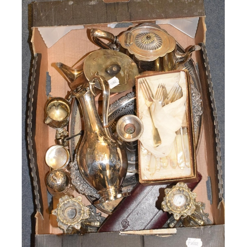 13 - A Victorian silver plated claret jug, a pair of candlesticks, teawares and other items (box)...