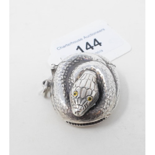 144 - A novelty silver curled snake vesta case...